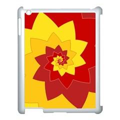 Flower Blossom Spiral Design  Red Yellow Apple Ipad 3/4 Case (white) by designworld65