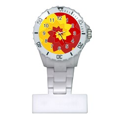 Flower Blossom Spiral Design  Red Yellow Plastic Nurses Watch by designworld65