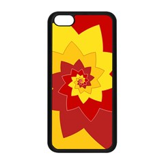 Flower Blossom Spiral Design  Red Yellow Apple Iphone 5c Seamless Case (black) by designworld65