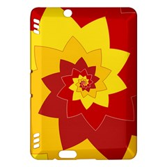 Flower Blossom Spiral Design  Red Yellow Kindle Fire Hdx Hardshell Case by designworld65