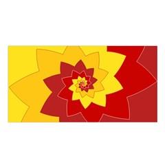 Flower Blossom Spiral Design  Red Yellow Satin Shawl by designworld65