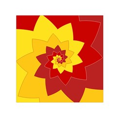 Flower Blossom Spiral Design  Red Yellow Small Satin Scarf (square) by designworld65