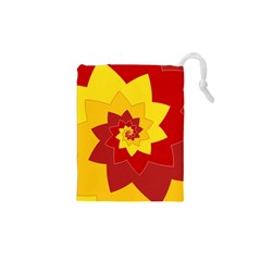 Flower Blossom Spiral Design  Red Yellow Drawstring Pouches (xs)  by designworld65