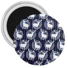 Geometric Deer Retro Pattern 3  Magnets by DanaeStudio