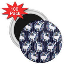 Geometric Deer Retro Pattern 2 25  Magnets (100 Pack)  by DanaeStudio