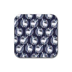 Geometric Deer Retro Pattern Rubber Square Coaster (4 Pack)  by DanaeStudio