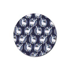 Geometric Deer Retro Pattern Rubber Round Coaster (4 Pack)  by DanaeStudio