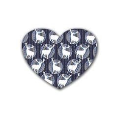 Geometric Deer Retro Pattern Rubber Coaster (heart)  by DanaeStudio