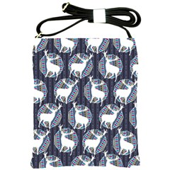 Geometric Deer Retro Pattern Shoulder Sling Bags by DanaeStudio