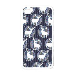 Geometric Deer Retro Pattern Apple Iphone 4 Case (white) by DanaeStudio