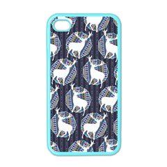 Geometric Deer Retro Pattern Apple Iphone 4 Case (color) by DanaeStudio