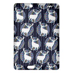 Geometric Deer Retro Pattern Amazon Kindle Fire Hd (2013) Hardshell Case by DanaeStudio