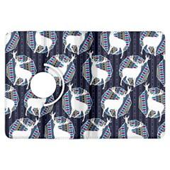 Geometric Deer Retro Pattern Kindle Fire Hdx Flip 360 Case by DanaeStudio