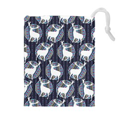 Geometric Deer Retro Pattern Drawstring Pouches (extra Large) by DanaeStudio
