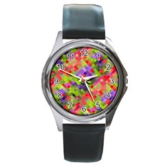 Colorful Mosaic Round Metal Watch by DanaeStudio