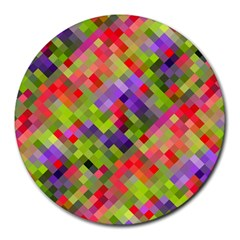 Colorful Mosaic Round Mousepads by DanaeStudio
