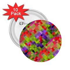Colorful Mosaic 2 25  Buttons (10 Pack)  by DanaeStudio