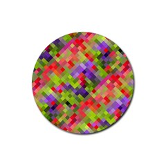 Colorful Mosaic Rubber Coaster (round)  by DanaeStudio