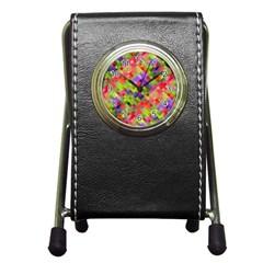 Colorful Mosaic Pen Holder Desk Clocks by DanaeStudio