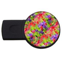 Colorful Mosaic Usb Flash Drive Round (4 Gb)  by DanaeStudio