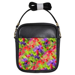 Colorful Mosaic Girls Sling Bags by DanaeStudio