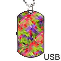 Colorful Mosaic Dog Tag Usb Flash (two Sides)  by DanaeStudio