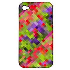 Colorful Mosaic Apple Iphone 4/4s Hardshell Case (pc+silicone) by DanaeStudio