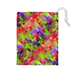 Colorful Mosaic Drawstring Pouches (Large)