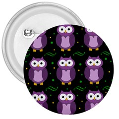 Halloween Purple Owls Pattern 3  Buttons by Valentinaart