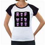 Halloween purple owls pattern Women s Cap Sleeve T