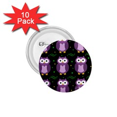 Halloween Purple Owls Pattern 1 75  Buttons (10 Pack) by Valentinaart