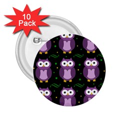 Halloween Purple Owls Pattern 2 25  Buttons (10 Pack)  by Valentinaart