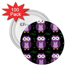 Halloween Purple Owls Pattern 2 25  Buttons (100 Pack)  by Valentinaart