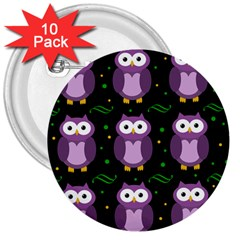 Halloween Purple Owls Pattern 3  Buttons (10 Pack)  by Valentinaart