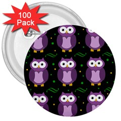 Halloween Purple Owls Pattern 3  Buttons (100 Pack)  by Valentinaart