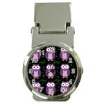 Halloween purple owls pattern Money Clip Watches