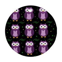Halloween Purple Owls Pattern Round Ornament (two Sides)  by Valentinaart