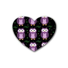 Halloween Purple Owls Pattern Rubber Coaster (heart)  by Valentinaart