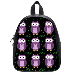 Halloween Purple Owls Pattern School Bags (small)  by Valentinaart