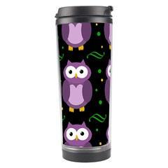 Halloween Purple Owls Pattern Travel Tumbler by Valentinaart