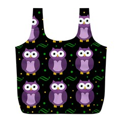 Halloween Purple Owls Pattern Full Print Recycle Bags (l)  by Valentinaart