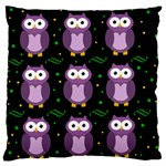 Halloween purple owls pattern Large Flano Cushion Case (Two Sides)