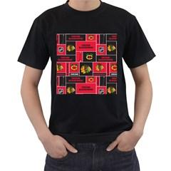 Chicago Blackhawks Nhl Block Fleece Fabric Men s T Shirt (black) by Onesevenart