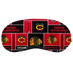 Chicago Blackhawks Nhl Block Fleece Fabric Sleeping Masks by Onesevenart