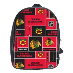 Chicago Blackhawks Nhl Block Fleece Fabric School Bags(large)  by Onesevenart