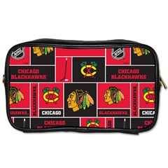 Chicago Blackhawks Nhl Block Fleece Fabric Toiletries Bags by Onesevenart