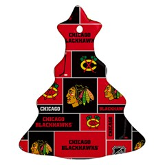 Chicago Blackhawks Nhl Block Fleece Fabric Ornament (christmas Tree) by Onesevenart