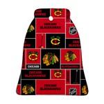 Chicago Blackhawks Nhl Block Fleece Fabric Bell Ornament (2 Sides)