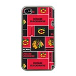 Chicago Blackhawks Nhl Block Fleece Fabric Apple iPhone 4 Case (Clear)