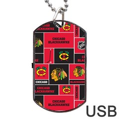 Chicago Blackhawks Nhl Block Fleece Fabric Dog Tag Usb Flash (two Sides)  by Onesevenart